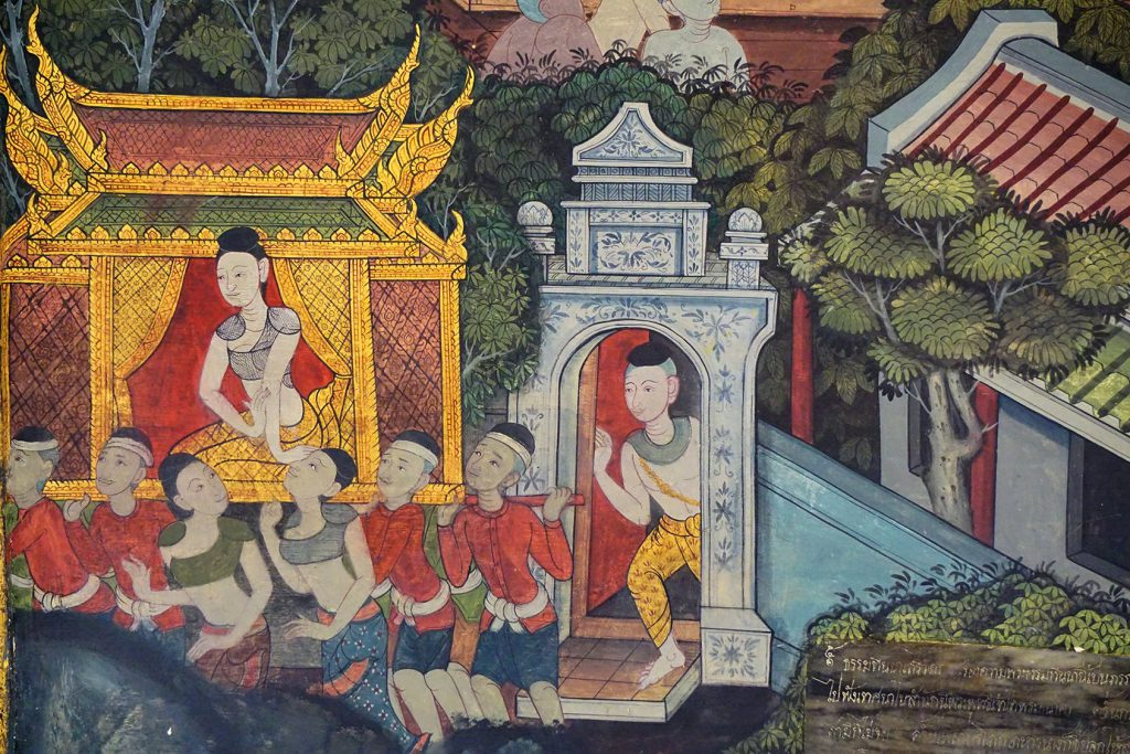 Dhammadinna wordt in een gouden palankijn naar het klooster gedragen